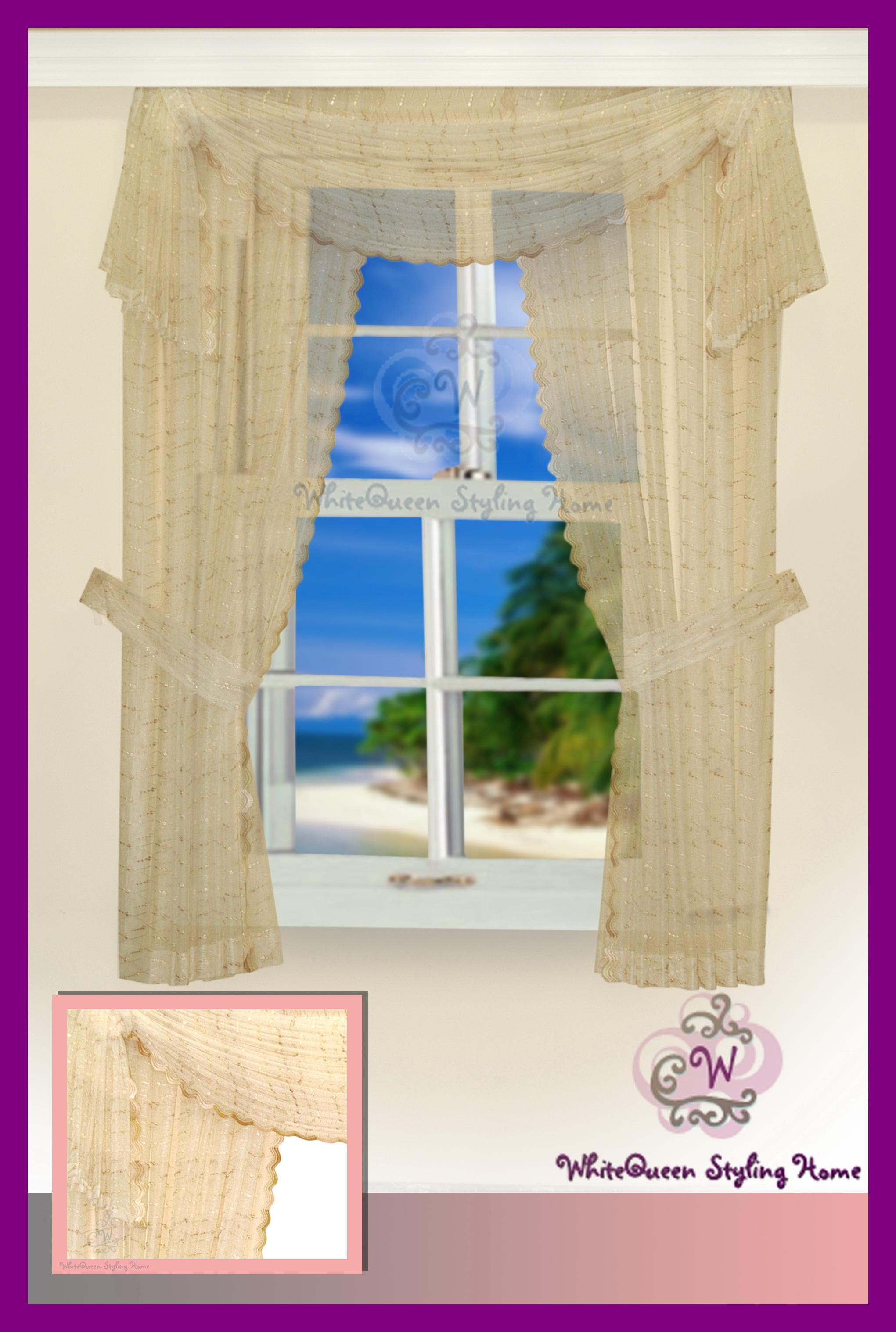 gardinen set querbehang rosen stickerei spitze 250x220. Black Bedroom Furniture Sets. Home Design Ideas